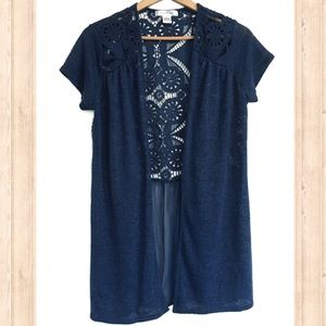 August Silk navy open front lace back sweater
